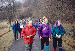 Peter Wells and friends setting off for Meall Ghaordaidh